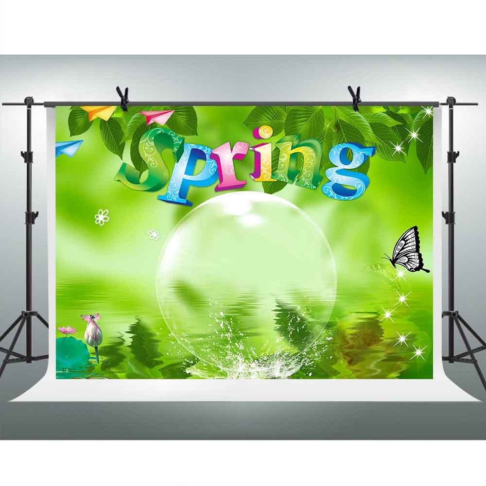 FH 10x7フィート バネバブル写真背景 緑の葉 水蓮 蝶の背景 テーマ パーティー YouTube背景 壁紙 写真ブース スタジオ小道具 TMFH201   B07D8LW44W