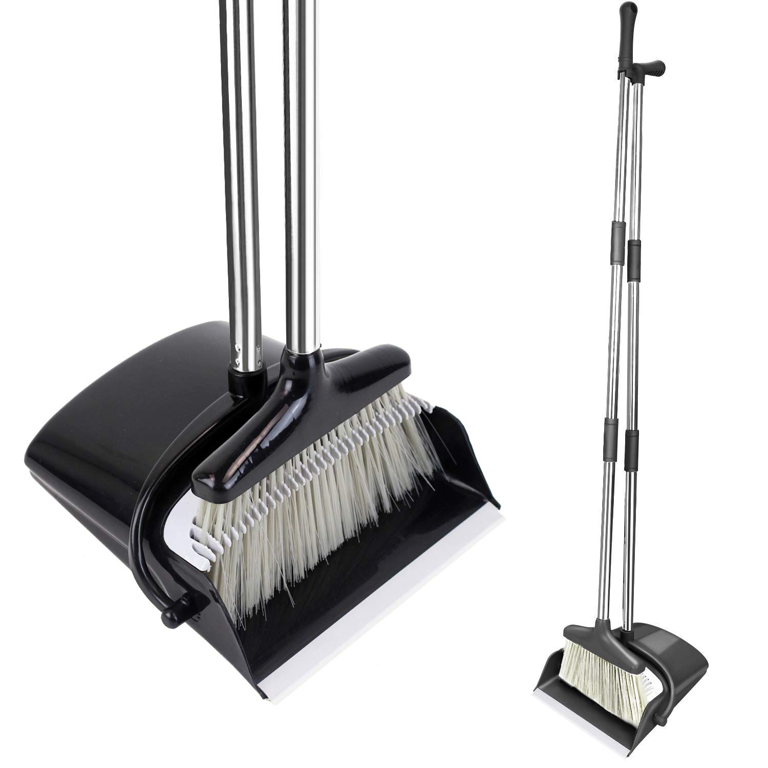 HomTrip Broom and Dustpan Set, Upright Dust Pan and Broom with 51'' Extendable Long Handle for Home Kitchen Room Lobby Office Floor Clean by HomTrip