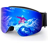 Elec スキーゴーグル スノーボードスキー用ゴーグル レンズ着脱可 予備レンズ付属 100%曇り止め 180度を超える広視野 収納ケース付き 雪面の凹凸が見えやすいプリズムレンズを使用 冬山登山/サバゲー/バイク/スキー運動に全面適用 UV400 紫外線100%カット 両層レンズ 広視野 耐衝撃 メーカー保証 ジュニア用 スポーツ用ゴーグル