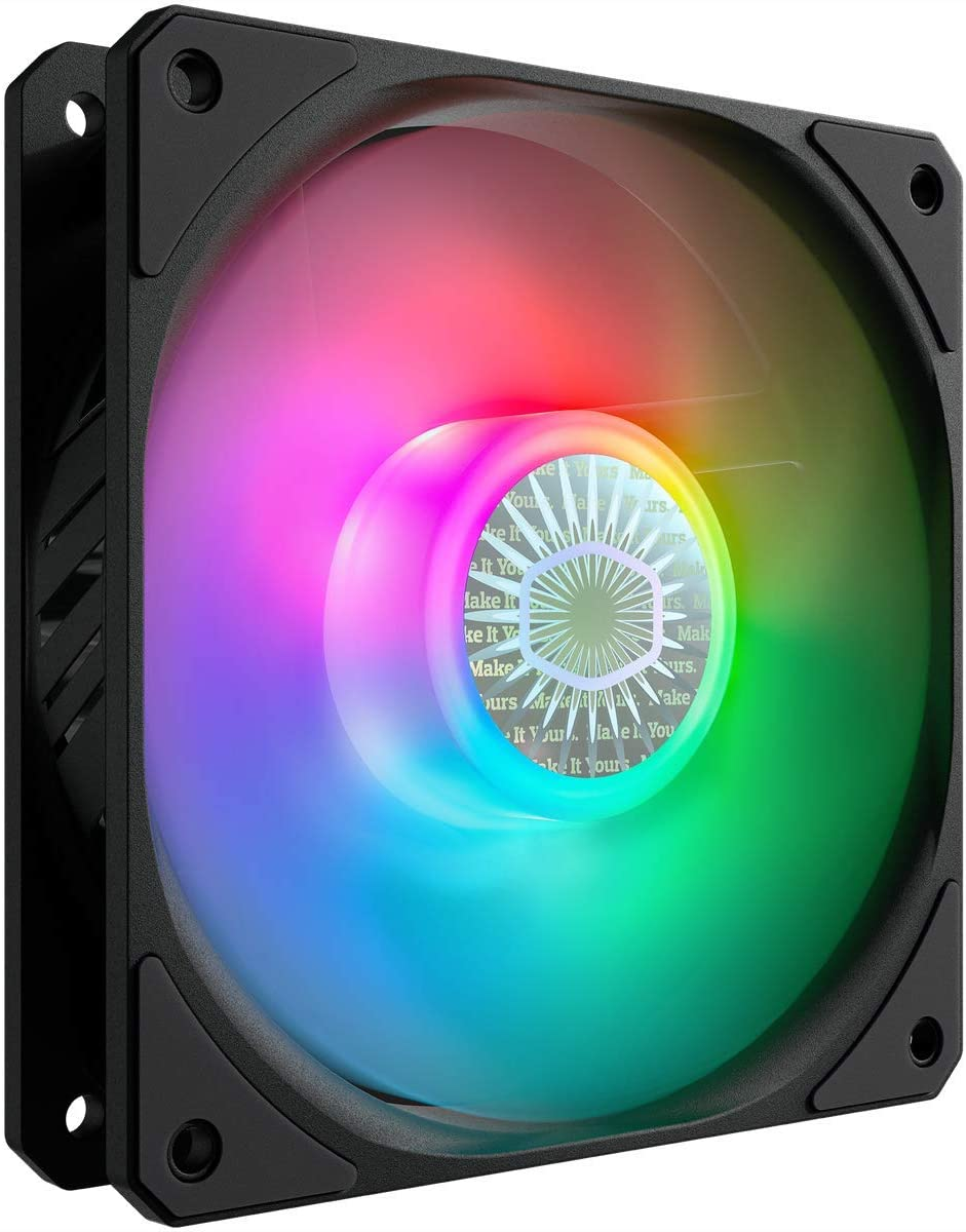 Cooler Master SickleFlow 120 V2 Addressable RGB Square Frame Fan, Individually Customizable LEDs, Air Balance Curve Blade Design, Sealed Bearing, PWM Control for Computer Case & Liquid Radiator