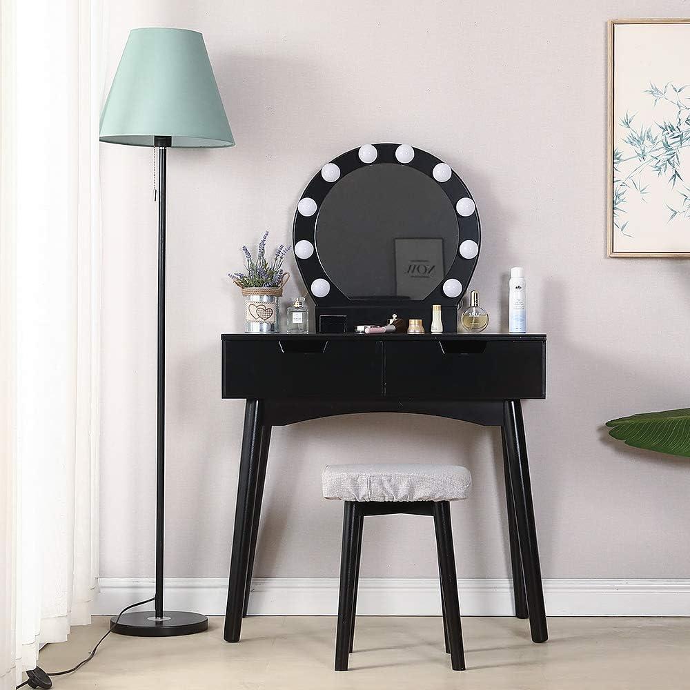 7 Tiroirs 1 Tabouret,Pieds R/ésistantes Style Victorien Blanc YOUKE Meuble Maquillage avec 3 Miroirs pour Chambre ou Dressing