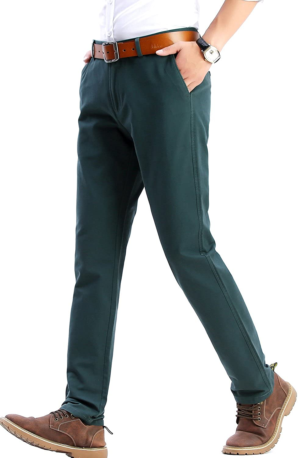 779efc425a INFLATION Men's 100% Cotton Slightly Stretchy Slim Fit Casual Pants, Flat  Front Trousers Dress Pants for Men