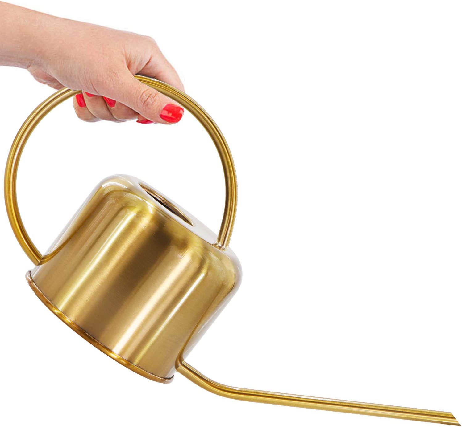 Wistwoxxon Metal Watering Can, 40 oz Copper Watering Can Indoor Outdoor, Long Spout Watering Can for Flower Plant