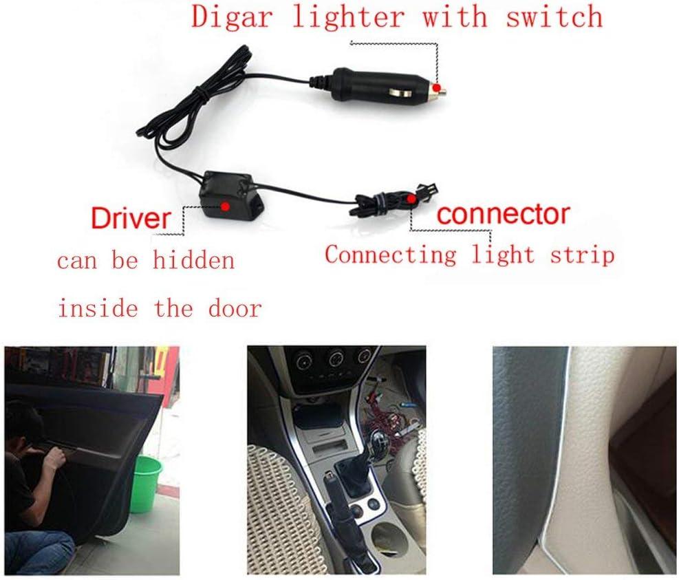 Blu, 26.2 FT//8M DoMyfit Lampada per Interni a LED per Auto al Neon con Lampada a incandescenza El Wire Wire Strip 12V con Bordo per Cucire 6mm