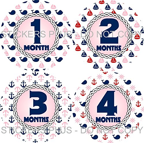 Baby Girl Month Stickers Monthly Baby Milestone Stickers Anchor Nautical Sailor Pink Navy Blue Whale Rope Anchor Sail Boat Stickers ()