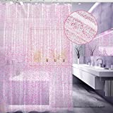 Pink Shower Curtain EVA Shower Curtain Liner, Feagar Mold and Mildew Resistant,Waterproof, Anti-bacterial, 72x72 Inch,PVC Free, Non Toxic,Eco-Friendly,Odorless Bathroom Curtains Sets (Sparkling Pink)