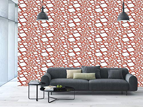Funky Wall Mural Sticker [ Abstract,Ornamental Squares with Oval Corners in Various Shapes Geometric Pattern,Dark Salmon White ] Self-Adhesive Vinyl Wallpaper/Removable Modern Decorating Wall Art