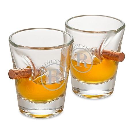 amazon com personalized bulletproof shot glass set of 2 circle