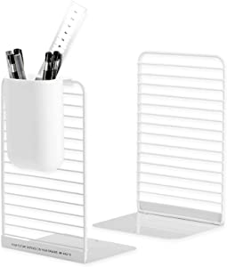 Bookends with Hanging Pen Organizer, White Book Ends for Heavy Book, Metal Bookend Supports for Shelves, Library, Home, Classroom, School, Office, Conveniently Store Pens, Scissors