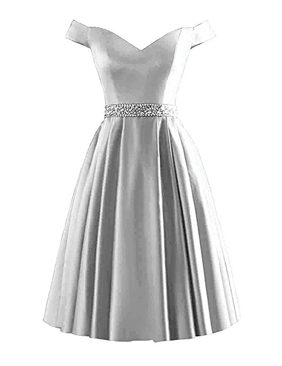 vimans Womens Satin Short Homecoming Dresses 2018 Off Shoulder Beading Prom Gown Dress5210