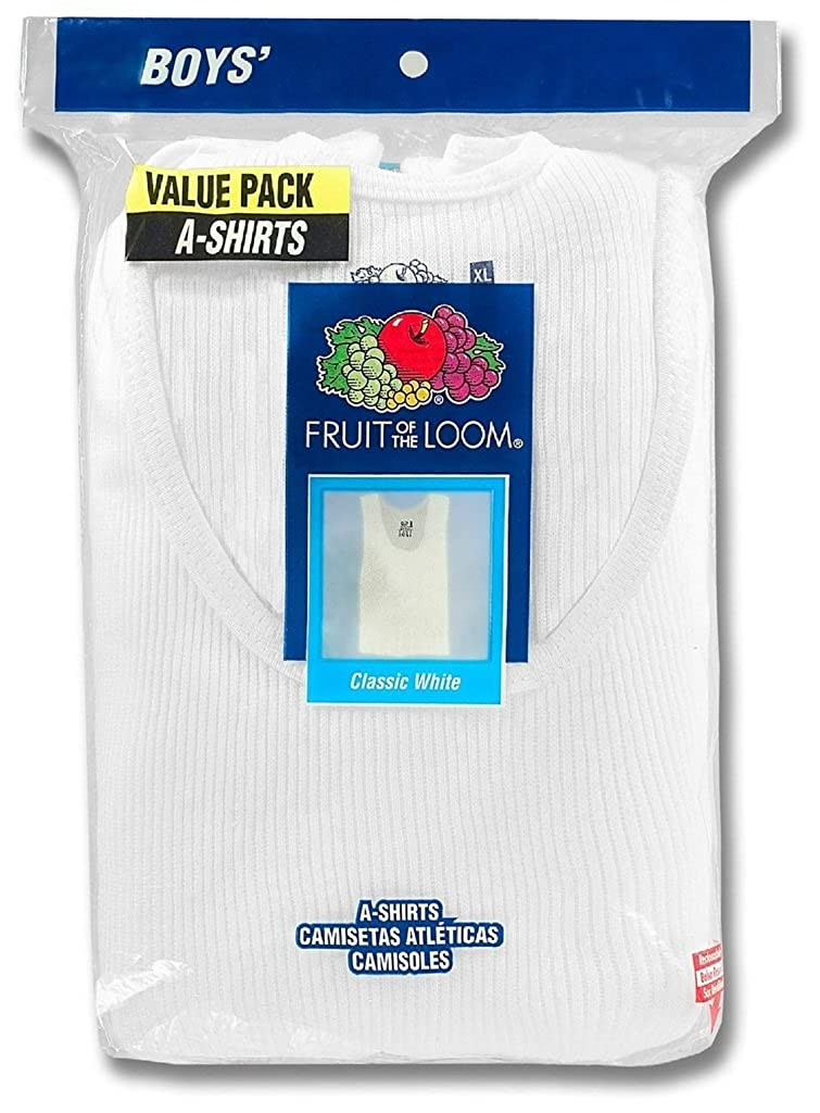 Fruit of the Loom Boys 8-Pack White 100/% Cotton A-Shirts