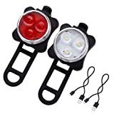 Amanka Rechargeable LED Bike Lights Set - Headlight Taillight Combinations LED Bicycle Light Set (650mah Lithium Battery, 4 Light Mode Options, 2 USB cables)