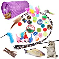 Allmart AC033108 28 Pcs Cat Toys Kitten Toys Assorted, Cat Tunnel Catnip Fish Feather Teaser Wand Fish Fluffy Mouse Mice…