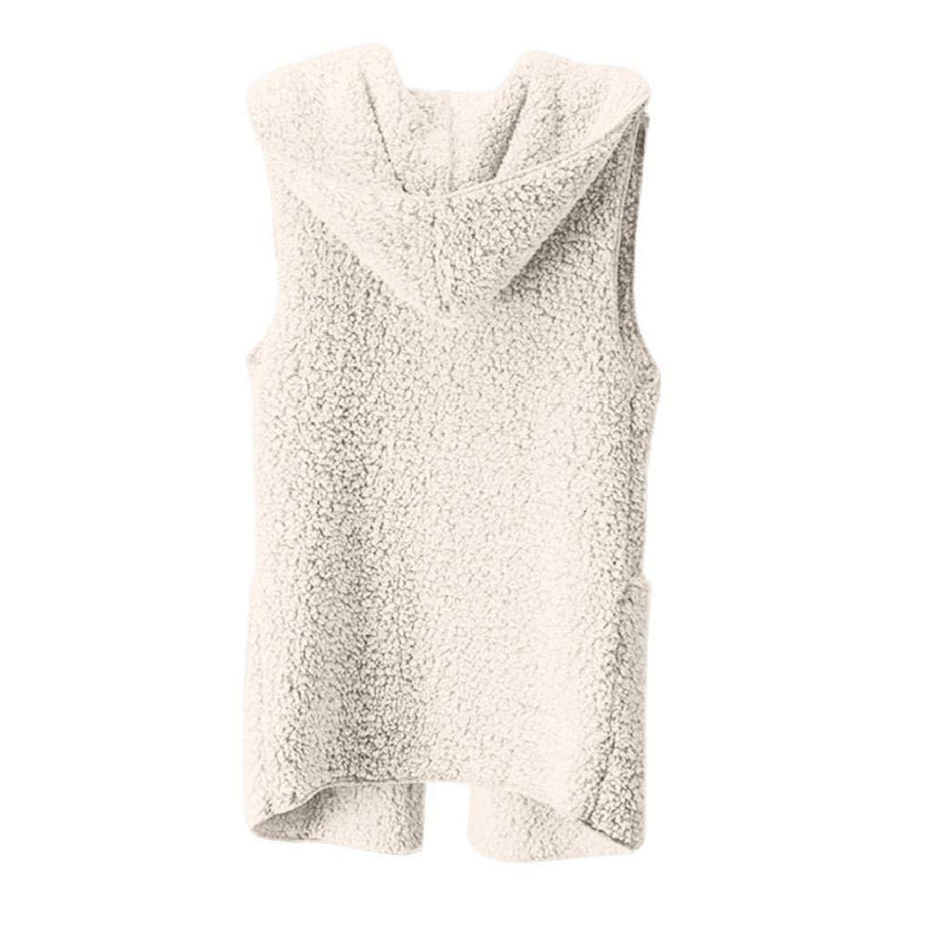 VICGREY ❤ Donna Giacca Gilet Con Cappuccio Pelliccia Sintetica Donna Elegante Caldo Cappotto Invernale Senza Maniche Waistcoat Casuale Parka Felpa Autunno Invernale