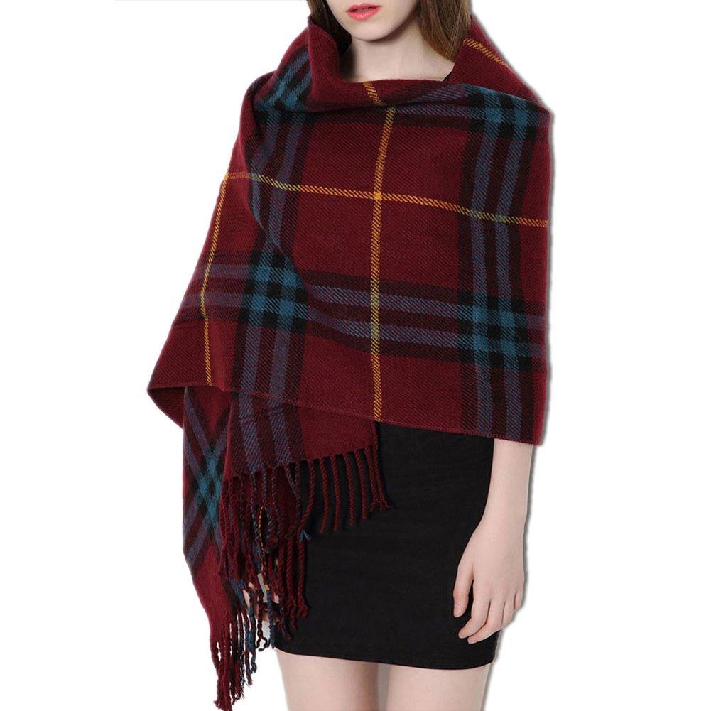 Tartan sciarpa con tasche per donne lungo grande scialle elegante classico stile Scozia tutte le stagioni cashmere super spessa, Black DIDIFU