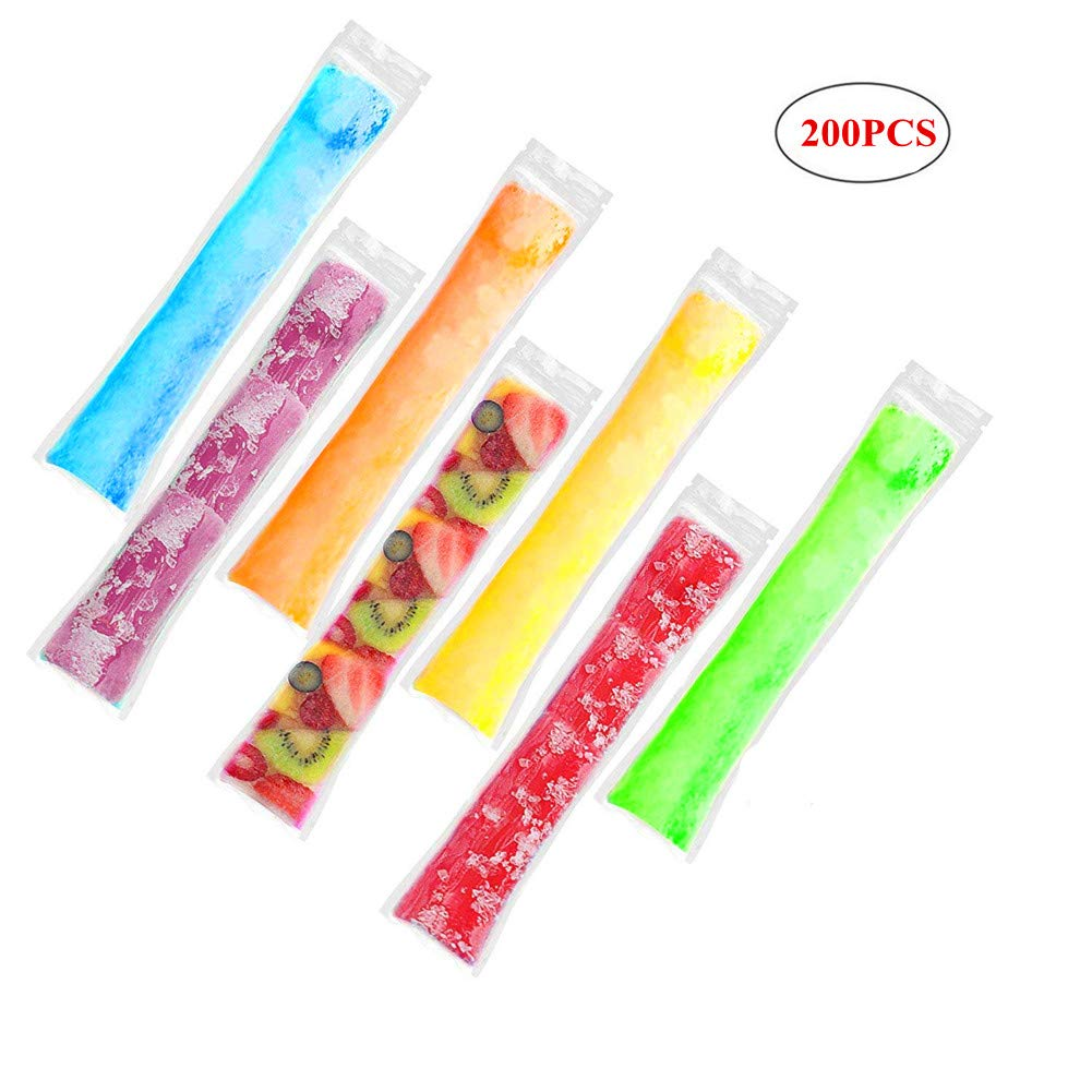 Gorgebuy 200 PCS Disposable DIY Ice Popsicle Mold Bags For Healthy Snacks, Yogurt Sticks, Juice & Fruit Smoothies, Ice Candy Popsicle Pops