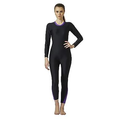 ab147591ab5 Champ Nylon Spandex - Women Swim Wear - Bodysuits [Full Sleeves- Full  Length] Padded - 0H