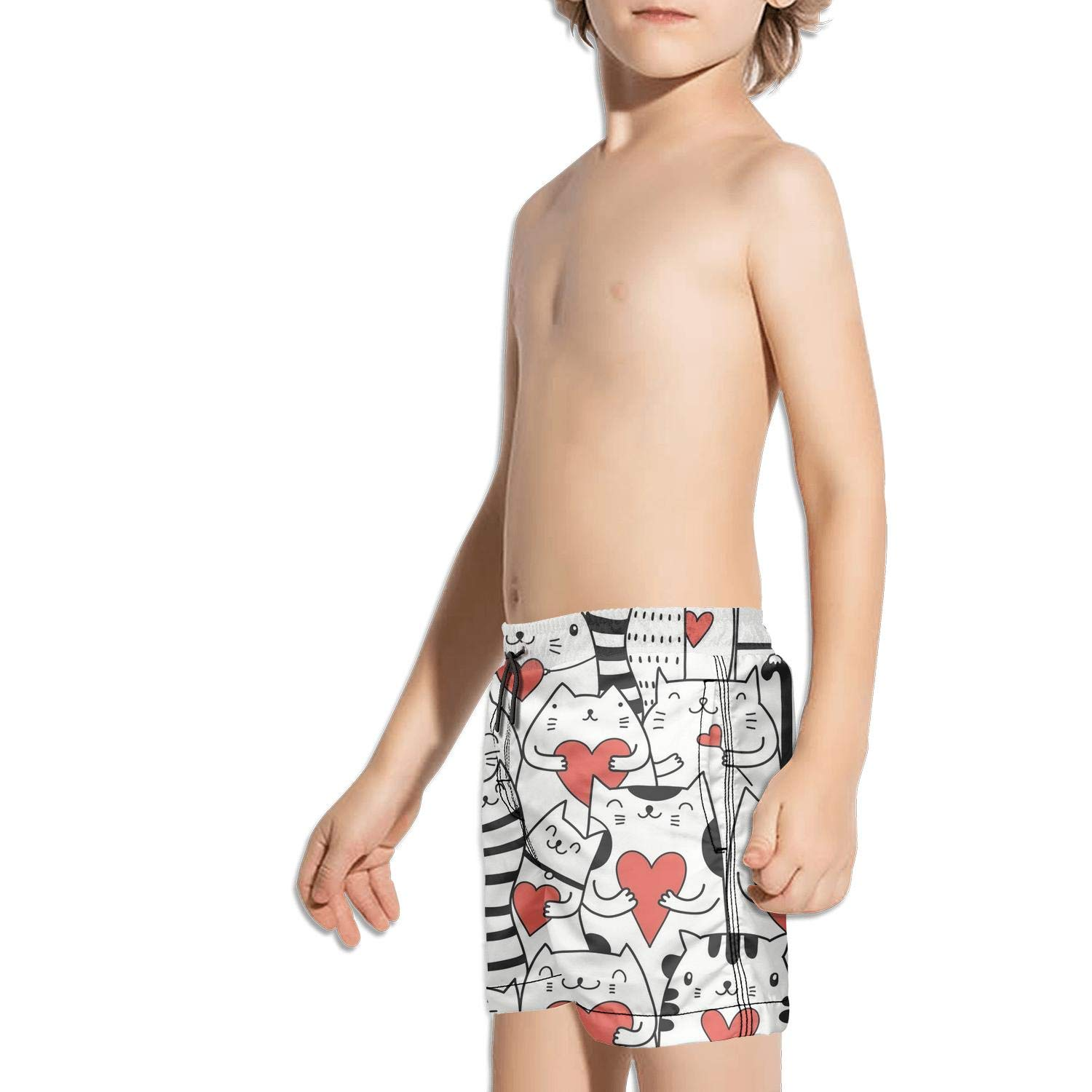 Etstk Cat with Red Heart Kids Durable Shorts for Students