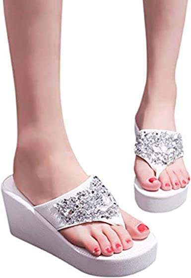 Mujer Plataforma Cuña Verano Flip Flop Sandalia Tanga Zapatillas De Moda Sandalias De Playa Zapatos 38 Clothing