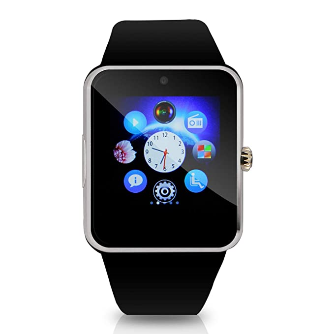 Hiwatch Reloj Inteligente Smartwatch Bluetooth Android M¨®vil Reloj con 8GB Micro SD Tarjeta, Negro(No incluido SIM Tarjeta)