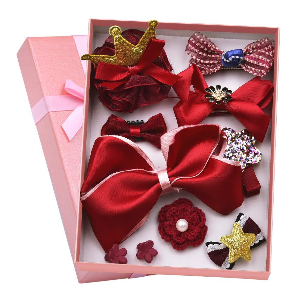 Coreykin Girl Hair Clips 10 Pcs Girl Bowknot Flower Hair Clip Multi-Style Bow Hairpin Ribbon Xmas Gift (Blue)