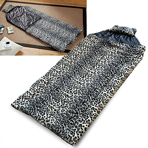 ith Cat Ear Hood Indoor Outdoor Sleepover Camping Teen Youth, Snow Leopard Gray (Sleeping Leopard)