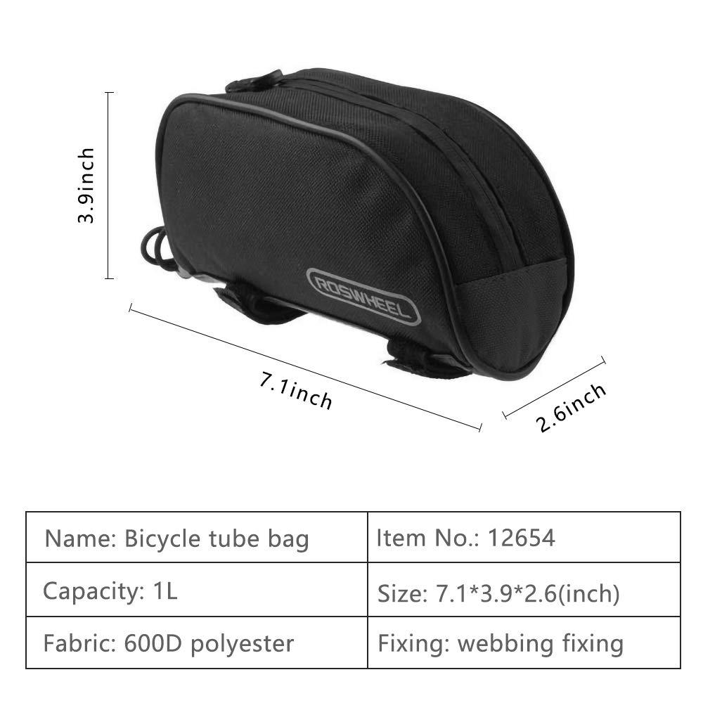 6.5 cm Hebey Bolsa de Bicicleta Bolsa de Tubo Superior de Bicicleta 1L Ciclismo Exterior Bolsa de Cuadro Delantero Bicicleta Tri/ángulo Bolsa de alforjas 18 10