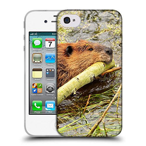 Just Phone Cases Coque de Protection TPU Silicone Case pour // V00004128 Beaver piscine avec le bâton // Apple iPhone 4 4S 4G