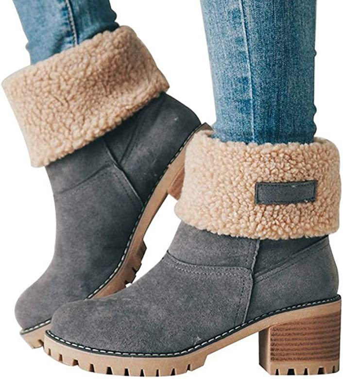b7bbdb1ac4f93 Blivener Women's Winter Snow Boots Suede Fur Chunky Heel Mid Calf Boots  Grey 35 (5. Back. Double-tap to zoom