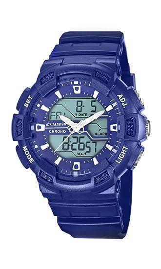 Calypso watches - Reloj analógico y digital de cuarzo para niño con correa de caucho, color azul: Amazon.es: Relojes