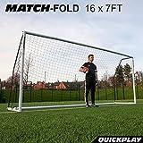 QuickPlay Match-Fold Soccer Goal (16x7') with 2YR Warranty