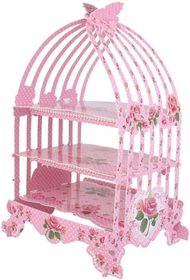 High-Tea Pink Weddings WedDecor 3-Tier Cupcake Stand Birdcage Design Vintage Style Foldable Cardboard Holders for Dessert Table D/écor Anniversary Birthdays Themed Party