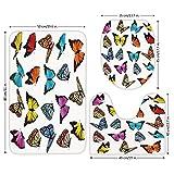 3 Piece Bathroom Mat Set,Animal,Big Collection of Colorful Butterflies Flying Artistic Composition Summertime Print,Multicolor,Bath Mat,Bathroom Carpet Rug,Non-Slip