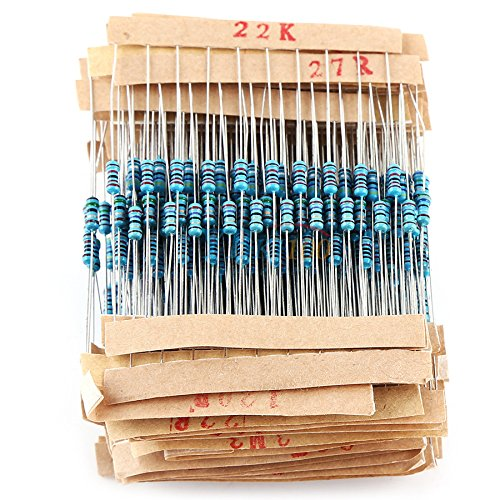Eiechip 2600pcs/lot 130 Values 1/4W 0.25W 1% Metal Film Resistors Assorted Pack Kit Set Lot Resistors Assortment Kits Fixed Resistors