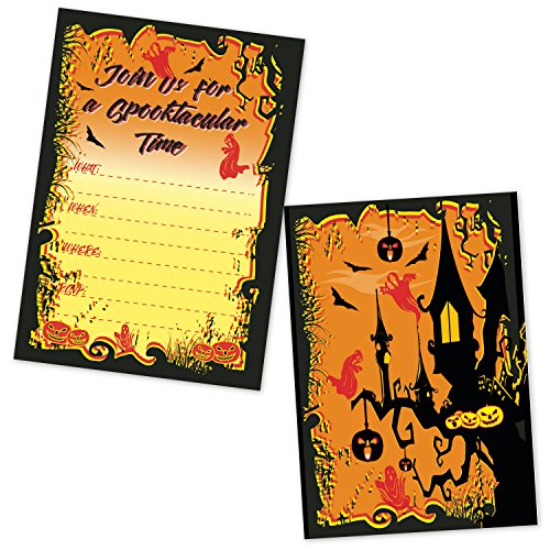 Halloween Party Invitations - Spooky Haunted House Jack O Lantern Invites - (20 Invites with Envelopes) -