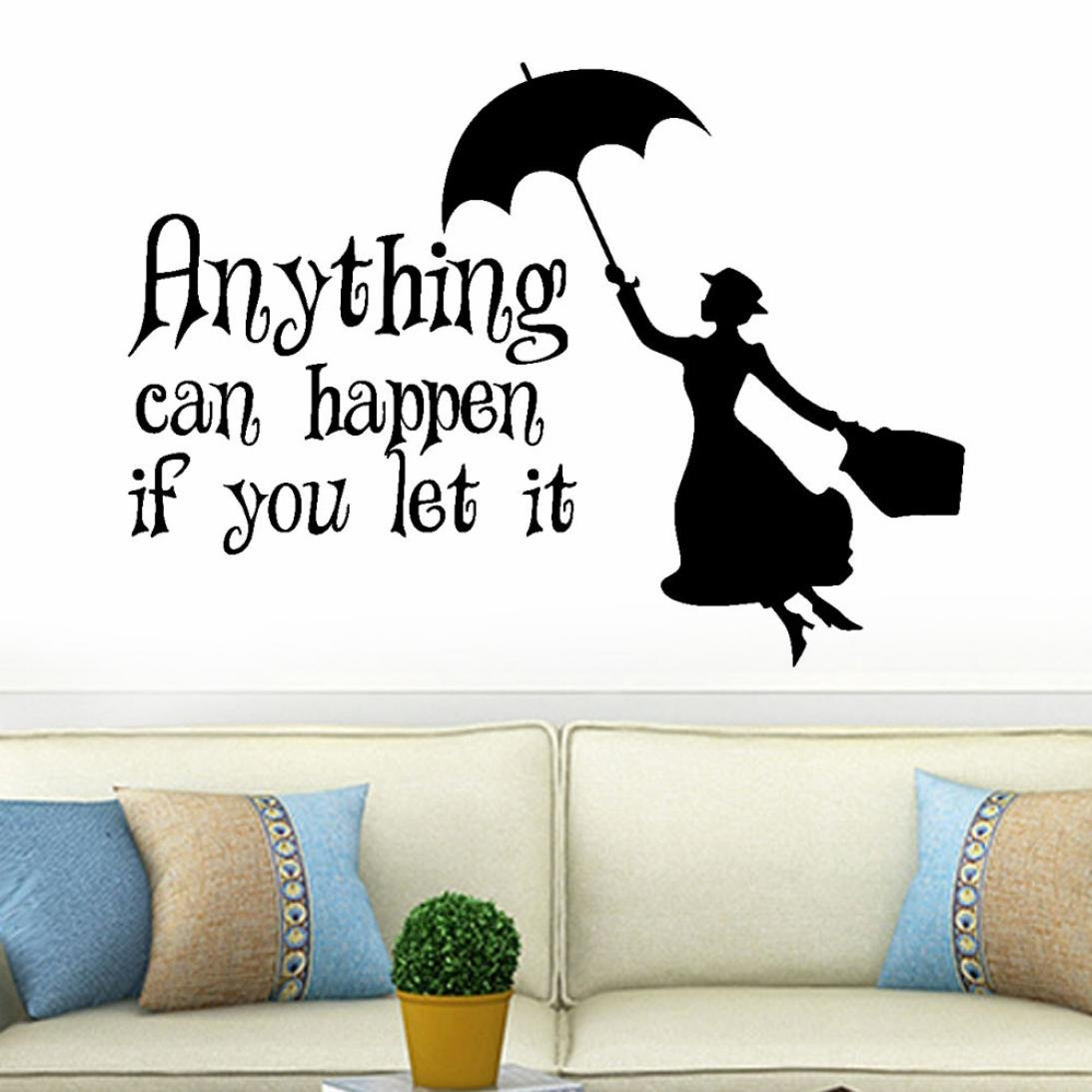 Wall Sticker Yezijin, Anything Can Happen if you Let it Art Mural Home Room Bedroom Office Decor Wall Stickers