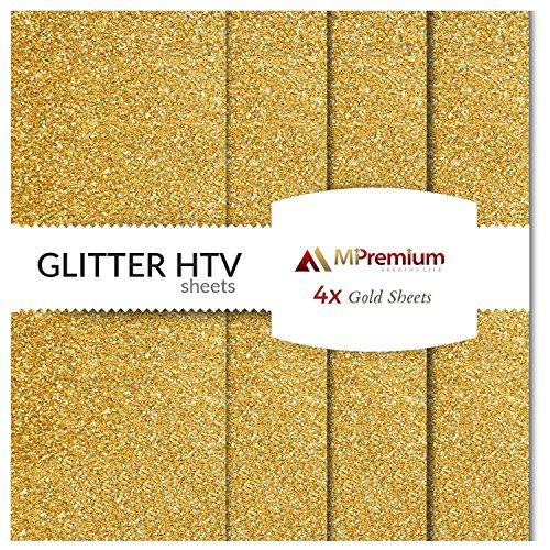 MiPremium Glitter Gold Heat Transfer Vinyl, Glitter HTV Iron On Vinyl (Pack of 4 Sheets), for T Shirts Sports Clothing other garments & fabrics, Easy Cut, Weed & Press Gold Glitter HTV Vinyl (GOLD)