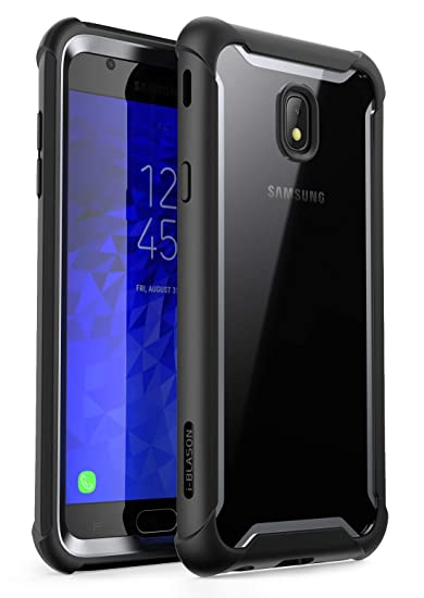 promo code dc5f2 7326b i-Blason Full-body Rugged Clear Bumper Case with Built-in Screen Protector  Designed for Galaxy J7 (SM-J737 2018 Release) (Black)