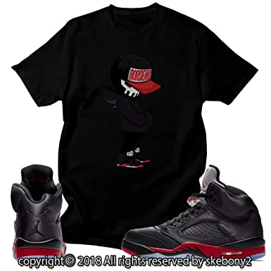 new concept c2168 1752e Custom T Shirt Matching Style of Air Jordan 5 Retro Satin Bred JD 5-1-15-4  at Amazon Men s Clothing store