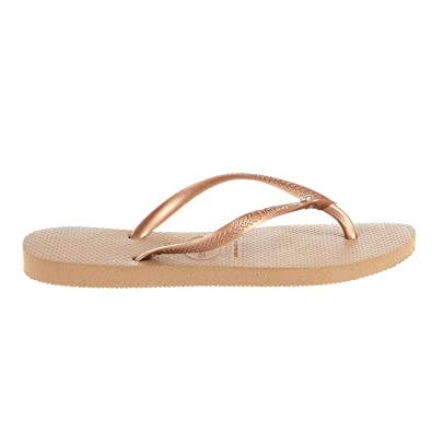 da062cd93 Havaianas Women s Slim Crystal Glamour SW Flip Flops Rose Gold Rose Gold  Metallic 41-