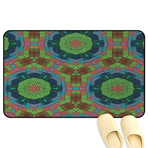 homecoco Colorful Non-Slip Standing Mat Ethnic and Abstract Round Figures with African Tribal Native Art Design Elements Multicolor 3D Digital Printing Mat W24 x L35 INCH