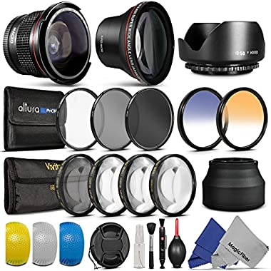 58MM Essential Accessory Kit for CANON EOS REBEL (T6i T6s T5i T4i T3i T3 T2i T1i XT XTi XSi SL1) - Includes: Altura Photo 0.43x Wide Angle & 0.35x Fisheye High Definition Lenses + Filter Kit + Macro Close-Up Set + Collapsible Lens Hood + Tulip Lens Hood + Center Pinch Lens Cap + 2 Color Filters + Flash Diffuser Set