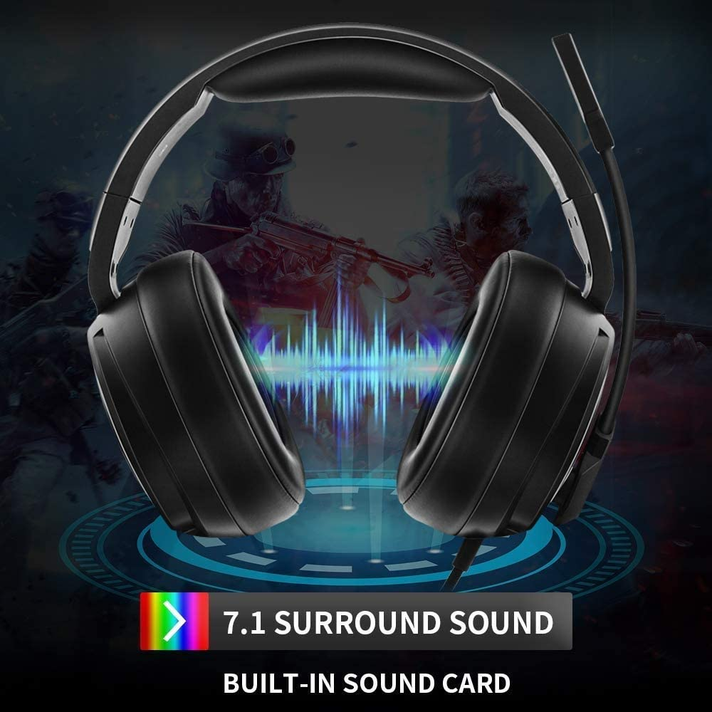 Memory Foam Ear Pads RGB Lights for Laptops USB Pro Gaming Headset for PC 7.1 Surround Sound Headphones with Noise Cancelling Mic