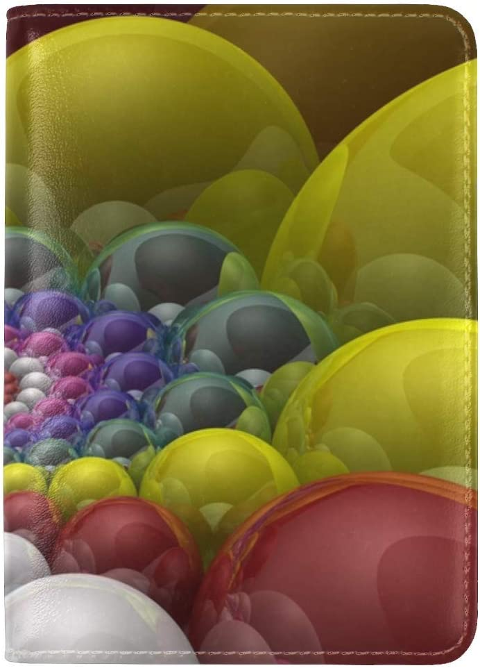 JiaoL Balls Colorful Rendering Leather Passport Holder Cover Case Travel One Pocket