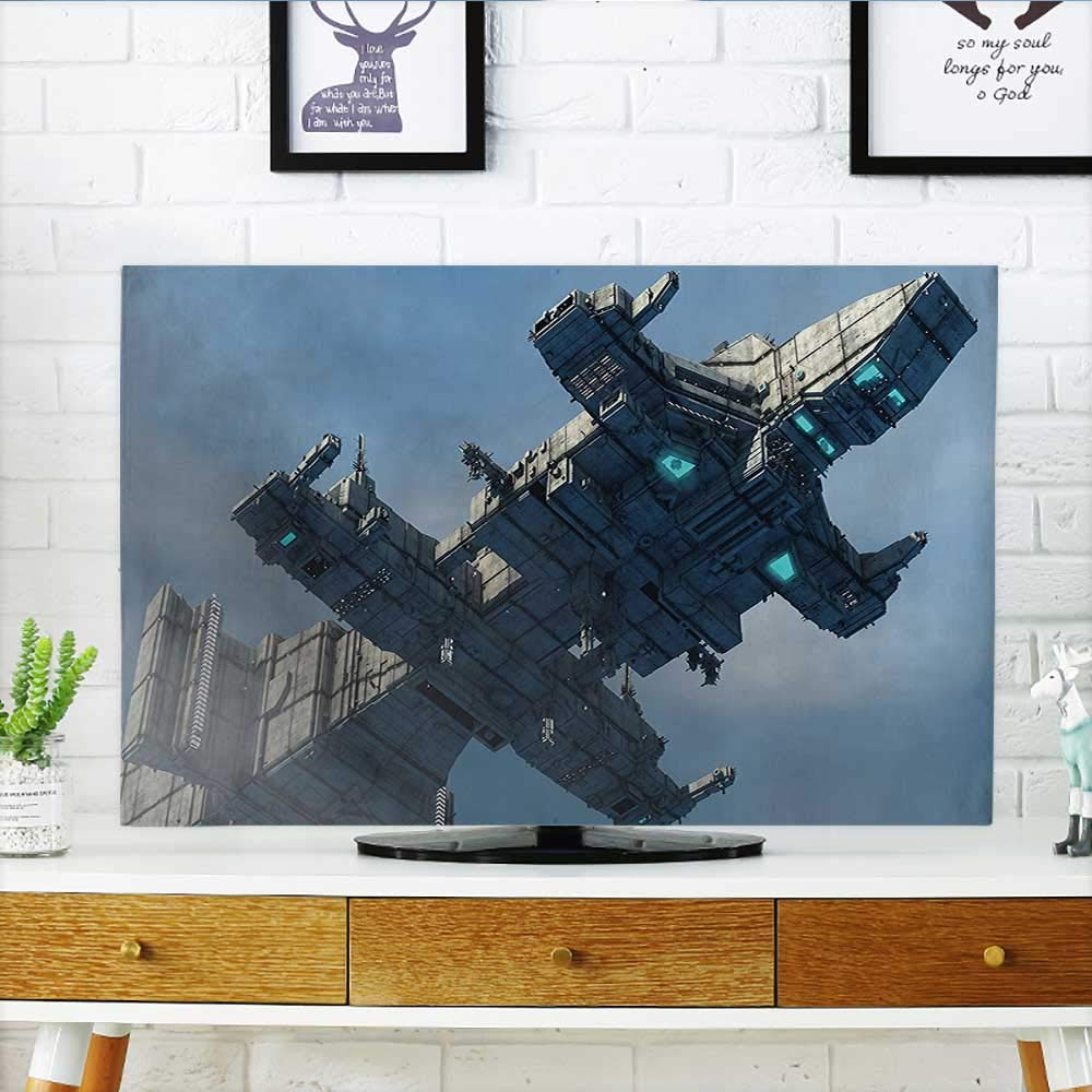 Leighhome Front Flip Top of Huge Military Ship in The Air Solar Planetary Cosmos Vehicle Grey Blue Front Flip Top W25 x H45 INCH/TV 47''-50'' by Leighhome