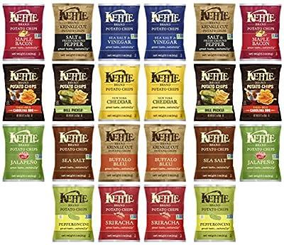 Kettle Brand Potato Chips Variety Pack Sampler, 2 Ounce (22 Count)
