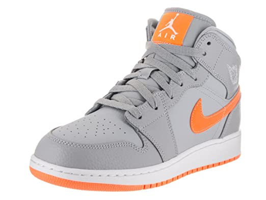 c3e6d745534e Nike Jordan Kids Air Jordan 1 Mid Bg Wolf Grey Bright Citrus White  Basketball