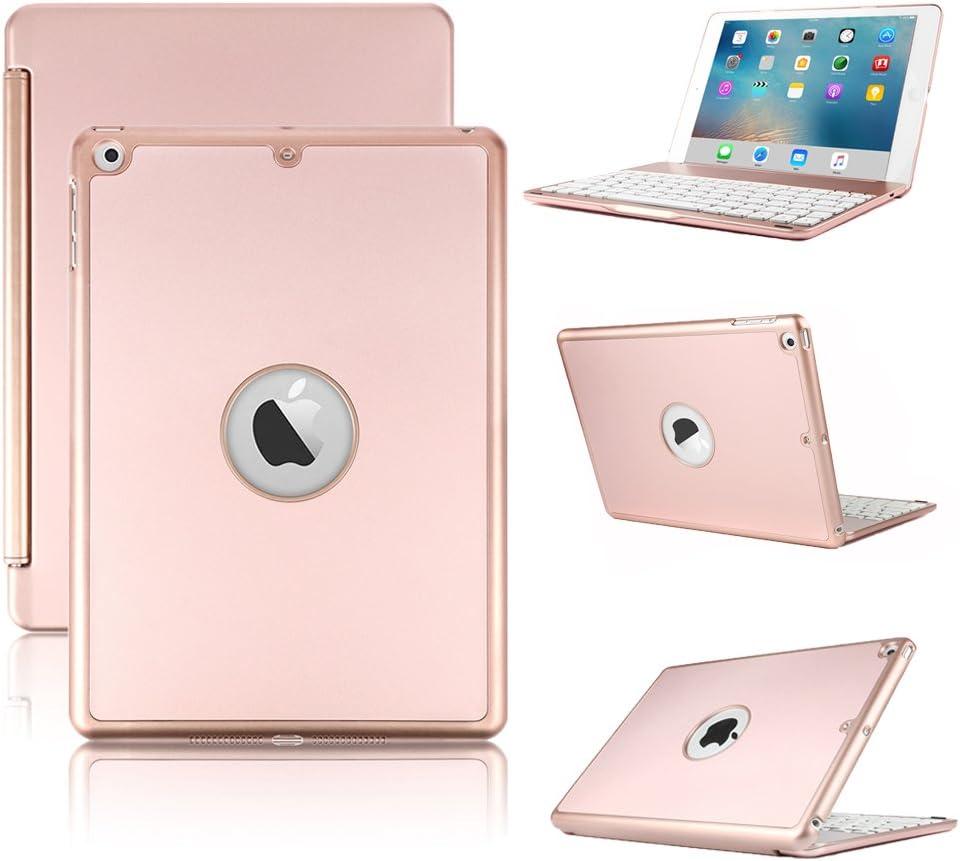 iPad Pro 12.9 inch (2nd Gen 2017) / Pro 12.9 inch (1st Gen 2015) Keyboard Case- Hard Shell Smart Case with 7 Colors Backlit Wireless Keyboard for iPad Pro 12.9 inch 1st/2nd Gen -Rose Gold