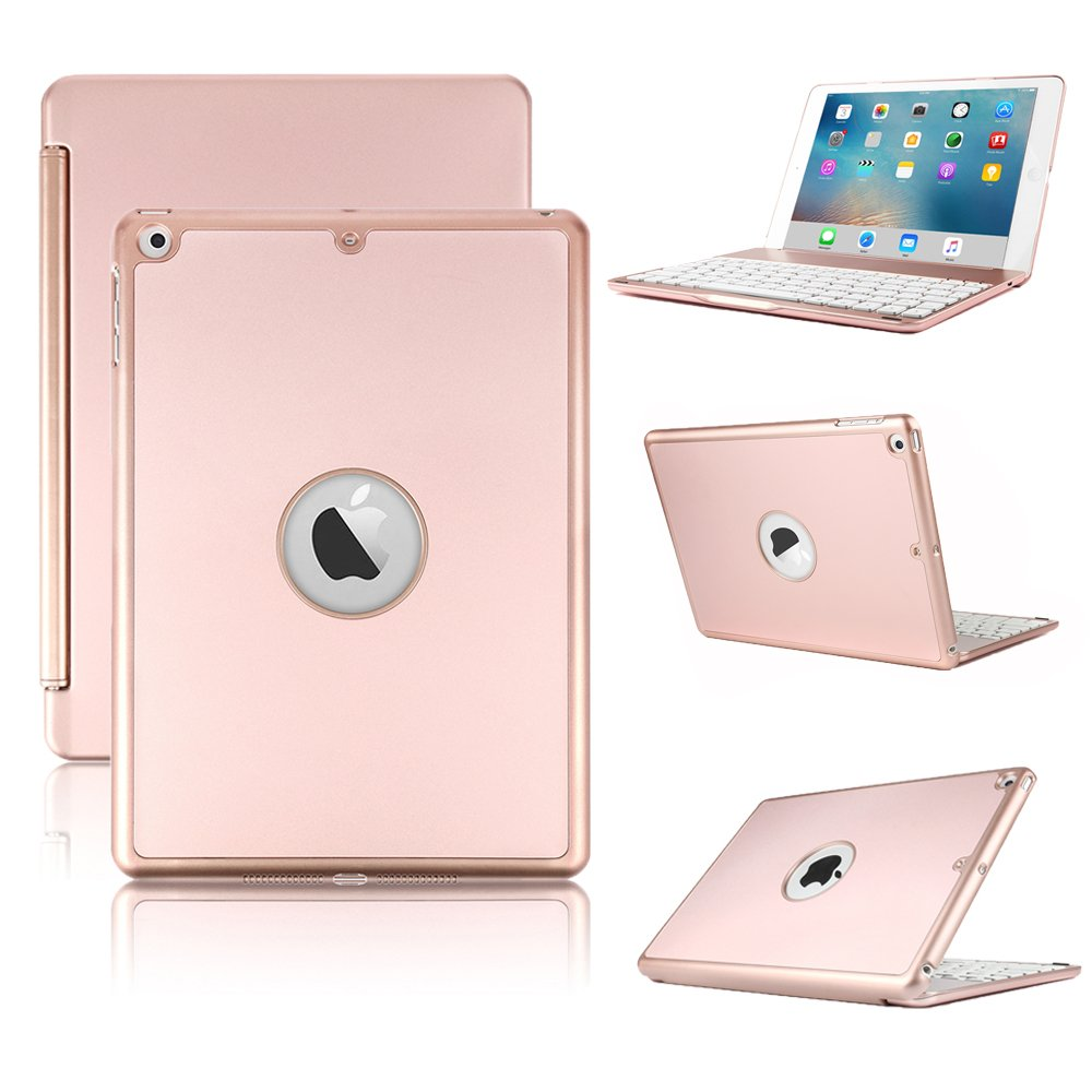 iPad Keyboard Case for iPad 9.7 inch 2018/2017,iPad Air -KVAGO Hard Shell Case with 7 Colors Back-lit Wireless Bluetooth Keyboard Cover for iPad 6th Gen,5th Gen,Air -Rose Gold