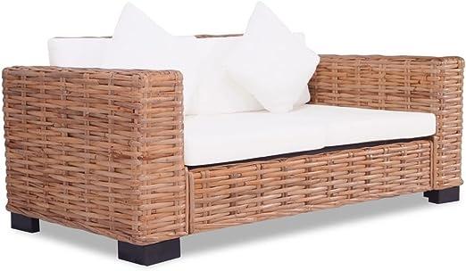 XINGLIEU Sofá Cama Blanco Crema,Sofa de Jardin Exterior,Sofa Reclinable,Ratán Natural + Madera 157 x 80 x 67 cm: Amazon.es: Hogar